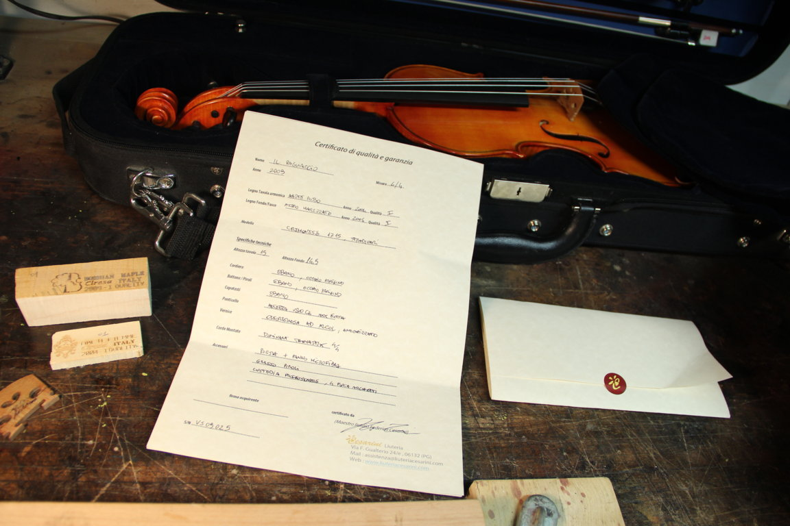 quality certificate for handmade luthier violin